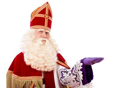 nicolaas: Sinterklaas portrait. isolated on white background. Dutch character of Santa Claus Stock Photo
