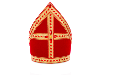 Mitre or mijter of Sinterklaas. Isolated on white backgroud. Part of a dutch santa tradition with zwarte piet and st. nicholas. Foto de archivo