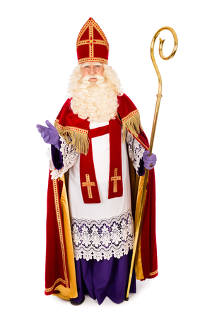 Sinterklaas portrait full length . isolated on white background. Dutch character of Santa Claus Stock Photo