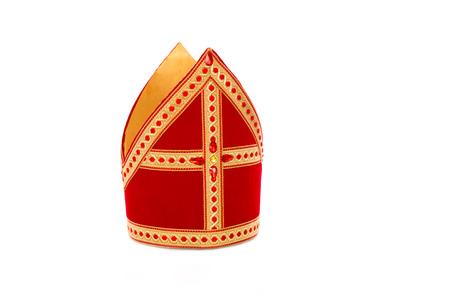 Mitre of mijter van Sinterklaas. Geïsoleerd op een witte achtergrondgeluid. Een deel van een nederlands santa traditie Stockfoto