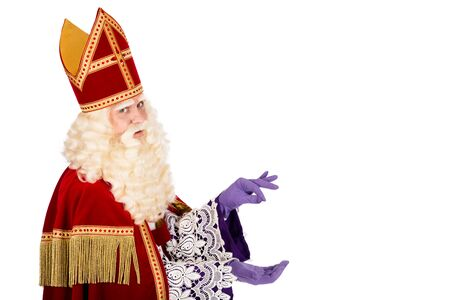 nicolaas: Sinterklaas with space for atribute . isolated on white background. Dutch character of St. Nicholas and Black Pete