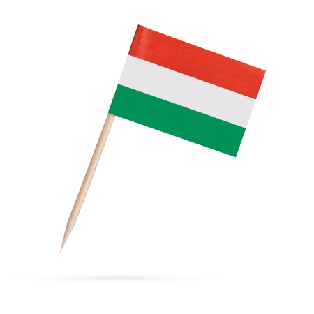 hungarian pointer: Miniature paper flag Hungary. Isolated Hungarian flag pointer on white background. With shadow below