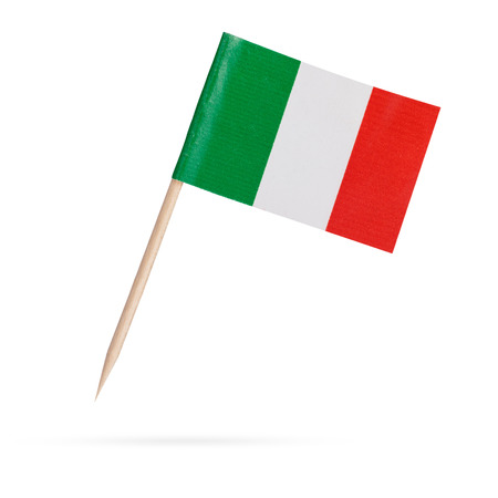 italy background: Miniature paper flag Italy. Isolated Italian flag pointer on white background. With shadow below