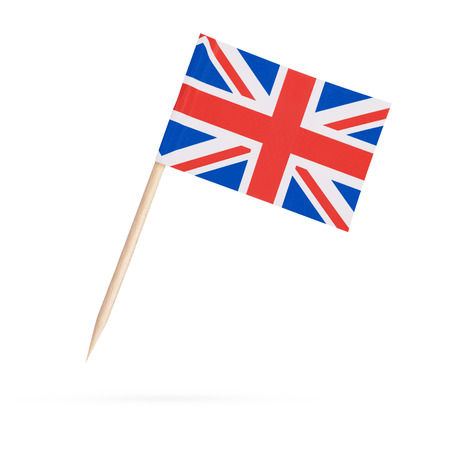 Miniature paper flag Great Britain. Isolated British flag pointer on white background. With shadow below Foto de archivo