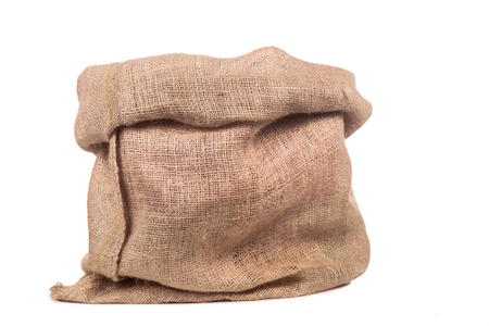 Empty burlap or jute bag.