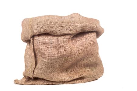 Empty burlap or jute bag. Archivio Fotografico