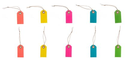 Set of Multicolor blank tags or labels with thread. Isolated on white background.Easy to change color Stockfoto
