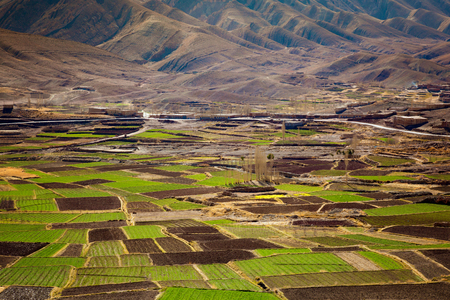 Agriculture Atlas Valley landscape, Morocco. Panoramic Aerial view of Fertile valley . Stockfoto