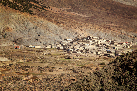 Rural remote Moroccan village at sunset  in the High Atlas Mountains  in Morocco. Stockfoto