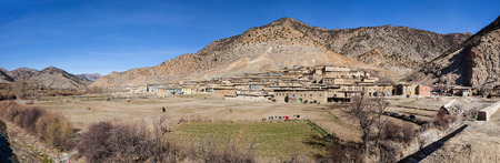 Small Moroccan berber village  in the High Atlas Mountains  in Morocco. Very Large panorama view