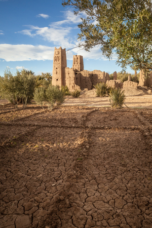 Departed Kasbah  Morocco. The ruins of one of Morocco?s fortress-palaces, Kasbah or ksar, situated in the arid Atlas Mountains near Ait Benhaddou.