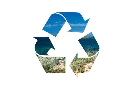 Recycleer symbool, het waterhemel van de Aarde, op witte achtergrond, het knippen inbegrepen die weg wordt geïsoleerd Stockfoto