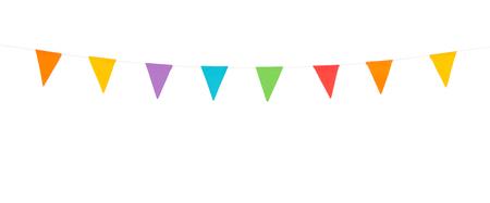 白い背景に分離された紙製のライン上のカラフルなパーティー フラグ
