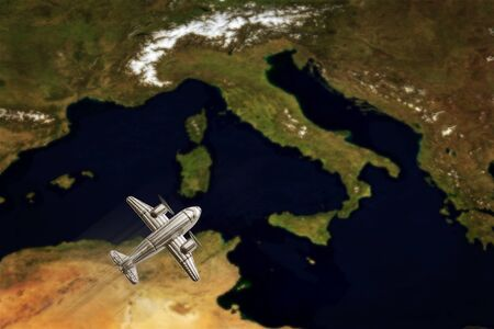 Vintage Italy Map With airplane. Conceptual image  (Elements of this image furnished by NASA)