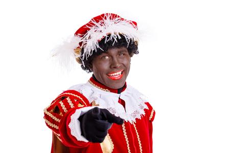 Gelukkige Zwarte Piet of Zwarte Piet die met vinger naar kijker richten