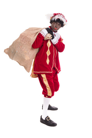 Zwarte Piet or Black Pete with burlap sack full with gifts .Full length portrait.Standing position