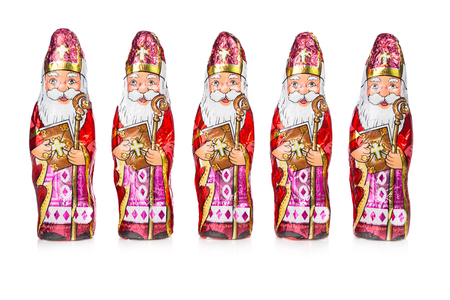 Close up of Sinterklaas. Saint Nicholas chocolate figures of Dutch character of Santa Claus.with copy-space. Stockfoto