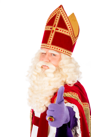 Dutch saint Nicholas portrait. Thumbs up. isolated on white background. Dutch character of Santa Claus Stockfoto
