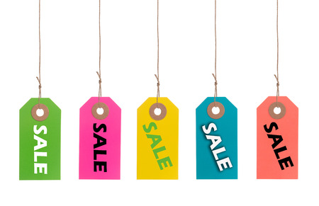 colorful sale tags or labels on a thread