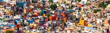 Guanajuato vibrant panorama view cityscape of mexican city of Guanajuato in Mexico with tilt-shift effect