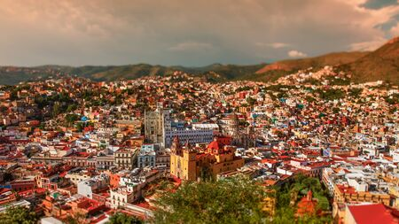 Guanajuato vibrant aerial view cityscape of mexican city of Guanajuato in Mexico.personal vintage editing