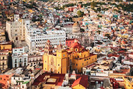 Guanajuato vibrant aerial view cityscape of mexican city of Guanajuato in Mexico vintage editing 스톡 콘텐츠