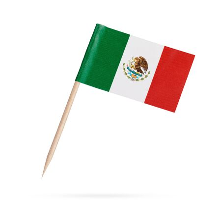 Miniature paper flag Mexico. Isolated Mexican toothpick flag pointer on white background. With shadow below