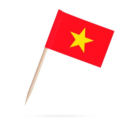 Miniature paper flag Vietnam. Isolated Vietnamese toothpick flag pointer on white background. With shadow below 스톡 콘텐츠