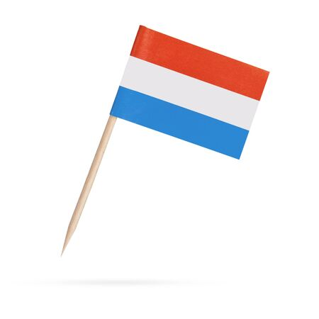 Miniature paper flag Luxembourg. Isolated Luxembourgian toothpick flag pointer on white background. With shadow below