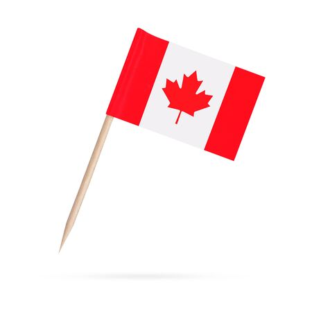 Miniature paper flag Canada. Isolated Canadian toothpick flag pointer on white background. With shadow below 스톡 콘텐츠