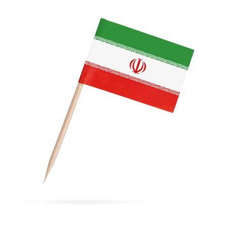 Miniature paper flag Iran. Isolated Iranian toothpick flag pointer on white background. With shadow below 스톡 콘텐츠