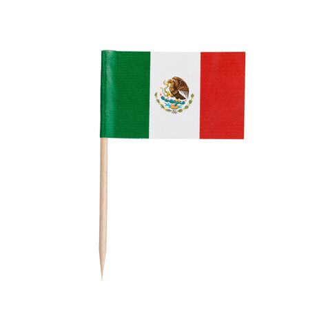 Miniature paper flag Mexico. Isolated Mexican toothpick flag pointer on white background.