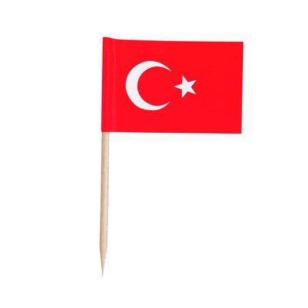 Miniature paper flag Turkey. Isolated Turkeys toothpick flag pointer on white background.