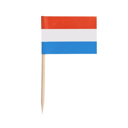 Miniature paper flag Luxembourg. Isolated Luxembourgian toothpick flag pointer on white background.