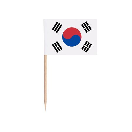 Miniature paper flag South-Korea. Isolated South Korean toothpick flag pointer on white background. 스톡 콘텐츠