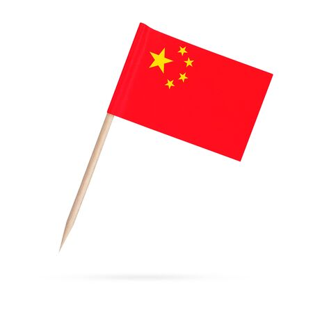 Miniature paper flag China. Isolated Chinese toothpick flag pointer on white background. With shadow below 스톡 콘텐츠