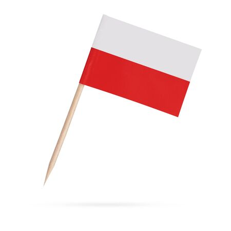 Miniature paper flag Poland. Isolated Polish toothpick flag pointer on white background. With shadow below