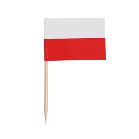 Miniature paper flag Poland. Isolated Polish toothpick flag pointer on white background.