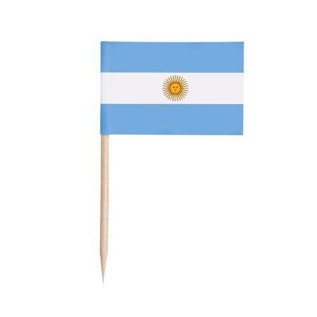 Miniature paper flag Argentina. Isolated Argentinian toothpick flag stick on white background. 스톡 콘텐츠