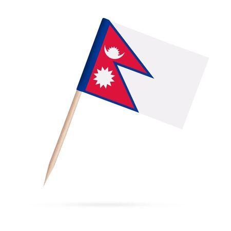 Miniature paper flag Nepal. Isolated Nepalese toothpick flag stick on white background. With shadow below. 스톡 콘텐츠