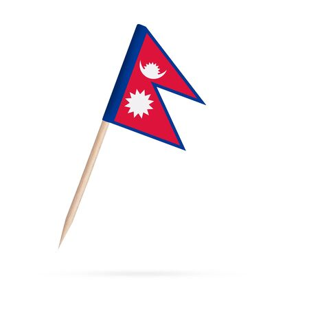 Miniature paper flag Nepal. Isolated Nepalese toothpick flag stick on white background. With shadow below.
