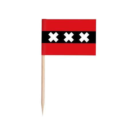 Miniature paper flag Amsterdam. Isolated Amsterdam toothpick flag stick on white background. Amsterdam is the capital of the Netherlands