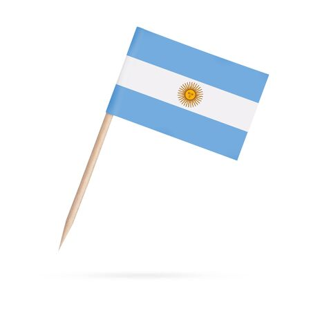 Miniature paper flag Argentina. Isolated Argentinian toothpick flag stick on white background. With shadow below.