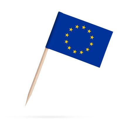 Miniature paper flag European Union. Isolated Eu toothpick flag on white background. With shadow below 스톡 콘텐츠