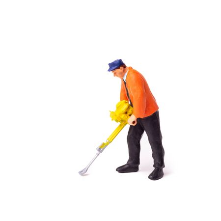 Little People Builder worker with pneumatic hammer drill equipment on whit background