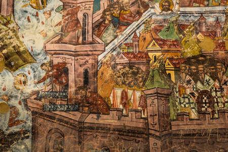 GURA HUMORULUI, ROMANIA - August 14 2019: The orthodox monastery Humor. UNESCO World Heritage Site. Suceava county, Romania. Foto de archivo - 150042351