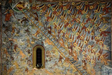 GURA HUMORULUI, ROMANIA - August 14 2019: The orthodox monastery Humor. UNESCO World Heritage Site. Suceava county, Romania. Foto de archivo - 150042356