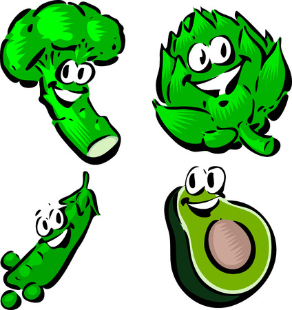 Broccoli, Artichoke, Peas, Avacado Illustration