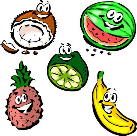 Coocnut, Watermelon, Lime, Pineapple, Banana