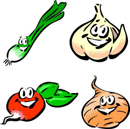 Green Onion, Garlic, Radish, Onion 向量圖像